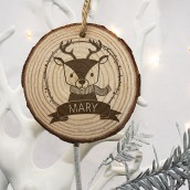 Engraved Woodland Reindeer Christmas Decoration