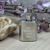 Personalised Miniature Hip Flask Keyring