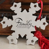 Engraved Family Snowflake Decoration
