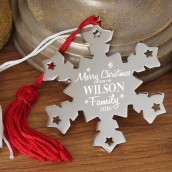 Engraved Merry Christmas Snowflake Decoration