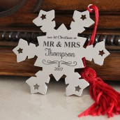Engraved Mr and Mrs Snowflake Decoration