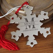 Engraved Monogramed Snowflake Decoration
