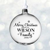 Engraved Merry Christmas Glass Bauble