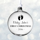 Engraved Baby 1st Christmas Glass Bauble