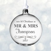Engraved Mr & Mrs Design Glass Bauble