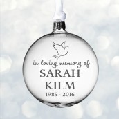 Engraved Memorial Glass Bauble