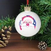 Engraved Red Nose Santa Bauble
