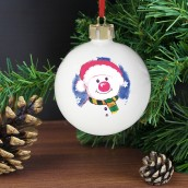 Engraved Red Nose Snowman Bauble