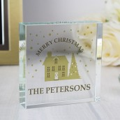 Engraved Festive Village Glass Block
