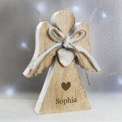 Engraved Rustic Wooden Angel Decoration