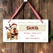 Personalised Boofie Wooden Reindeer Santa Sign
