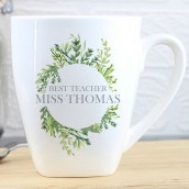 Personalised Botanical Latte Mug Teacher Gift