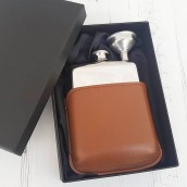 Engraved Hip Flask In Brown Leather Pouch