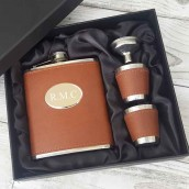 Engraved Brown Leather Hip Flask With Cups