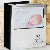 Engraved Silver Baby Photo Album - Teddy Bear