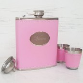 Engraved Pink Hip Flask With Cups