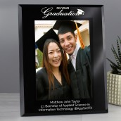 Personanlised Graduation Photo Frame Black Glass