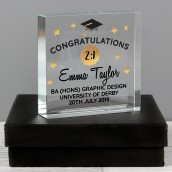 Personalised Graduation Crystal Glass Block