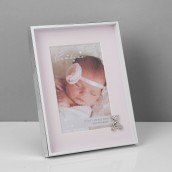 4  x 6    Bambino Silver Finish Frame   Teddy & Pink Mount
