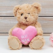 Brown Teddy Bear with Pink Heart   Best Nan