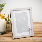 4  x 6    Faith & Hope Silver Plated Frame with Crucifix