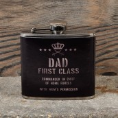 Military Heritage 5oz Hip Flask   Dad First Class