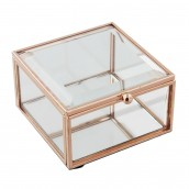 Hestia Glass Rose Gold Jewellery Box   Small