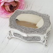 Engraved Small Silver antique Trinket Box