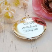 Engraved Silver Oval Compact Mirror