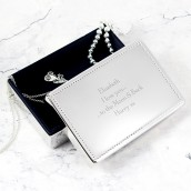 Engraved Silver Rectangular Jewellery Box