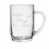 Engraved Glass Wedding Role Tankard